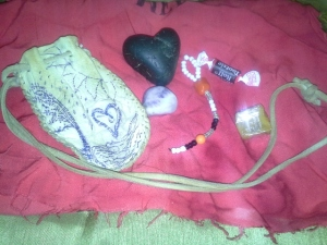 The American Native Generous heart!!! Medicine Bag, Beaded Key Chain, Delicious Treats and a special little stone!!!